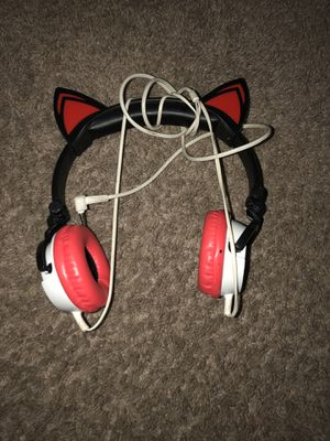 Red white and black cat Sony adjustable corded headphones for Sale in Lexington, KY