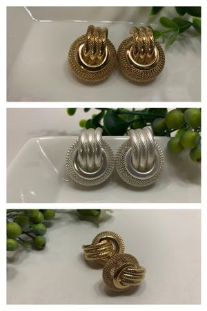 Multi Layer Metal Round Hoop Earrings, Gold and White/Silver for Sale in Los Angeles, CA