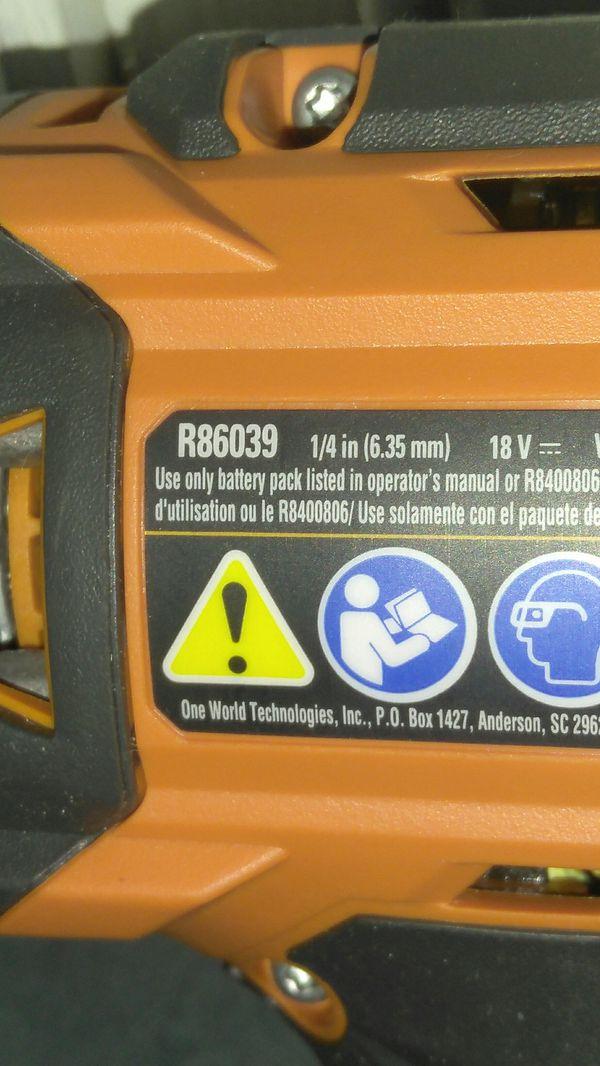 "Ridgid 18v Octane 1/4"" Impact Driver. NEW"