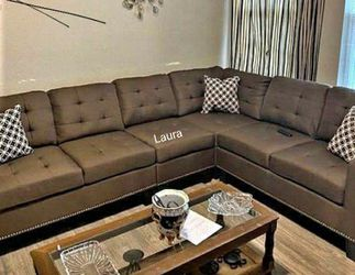 🧃same DAY delivery 🐾 Lantana Chocolate Reversible Sectional ,sofa, couch ,living room set 🌾 for Sale in Bellaire,  TX