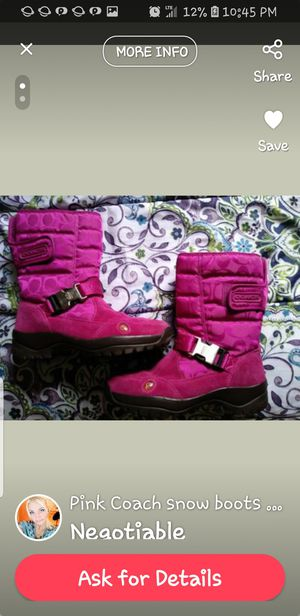Pink COACH snow boots 7.5 women's like new for Sale in Tampa, FL
