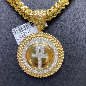 10kt Franko Chain And Diamonds Charm 0.5 Ctw Real Diamonds ... for Sale in Dallas, TX