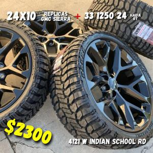 24/10 wheels and tires all 4 MONKEY WHEELS AND TIRES 4121 W Indian School Rd Phoenix, Az 85019 *480== 307==2141 for Sale in Scottsdale, AZ