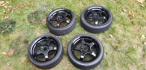 4 17in 4x100 4x114.3 wheels rims tires for Sale in Germantown, MD