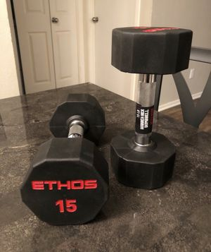 NEW 15LB PAIR (2) OF RUBBER COATED HEX DUMBBELL Total (30 Lbs) - ETHOS for Sale in Midlothian, VA