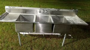Universal stainless commercial three sink for Sale in Newport News, VA