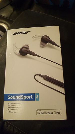 Bose SoundSport In-ear Wired Headphones - Charcoal Black For: IPhone, IPad, IPod for Sale in Corona, CA