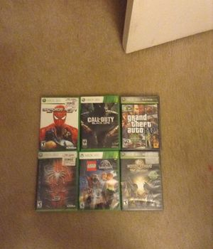 Xbox 360, controller, six games (GTA 4,Spider Man 3,Spider Man Web of Shadows, Call of Duty Black Ops, Jurassic World Legos, and mortal Kombat vs jus for Sale in Germantown, MD