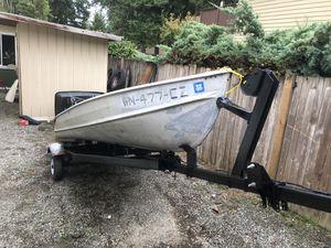 14' aluminum boat and trailer for Sale in Redmond, WA