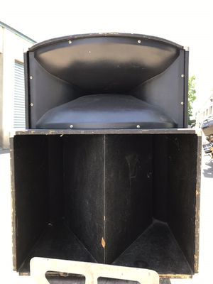 Two pro audio long throw speakers with bottom cabinets for Sale in Seattle, WA