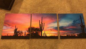 Canvas artwork wall art 3 panel az sunset for Sale in Scottsdale, AZ