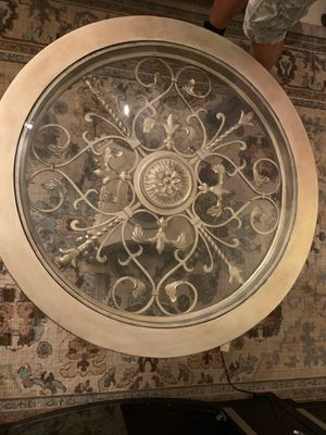 Round Iron and Glass Coffee Table for Sale in Pembroke Pines, FL