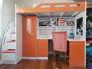 Loft bed with desk and bookshelf for Sale in Poway, CA