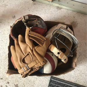 Vintage Baseball Glove And Helmets for Sale in Tampa, FL