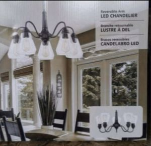 Chandelier, LED 5 Arm reversible chandelier, new in box for Sale in Los Angeles, CA