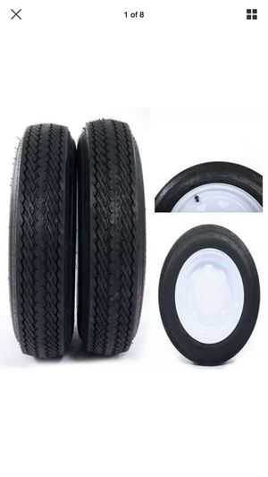 "2 x Tires with 2 White Rim 4PLY Trailer 4.80x12 5 lugs on 4.5"" Center or 4 lugs for Sale in San Bernardino, CA"