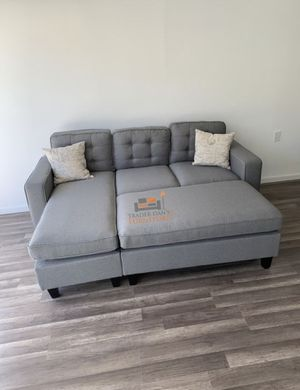 Brand New Light Grey Linen Sectional Sofa Couch + Ottoman for Sale in Washington, DC