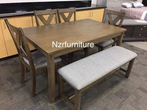 """New 6-PC Grey Breakfast Kitchen Table w/ 4 Linen Fabric Chairs & Bench """"FIRE SALE"""" for Sale in Missouri City, TX"""