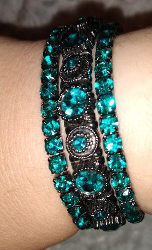 Pre-Owned Teal/Dark Grey Elastic Bracelet Set-3 Pieces for Sale in Fremont, CA