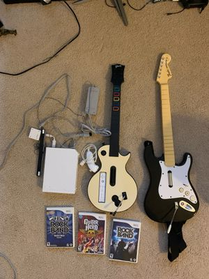 Nintendo Wii, guitar hero, rock band for Sale in Mililani, HI