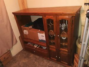 Vintage classic wooden oak entertainment center tv stand china display hutch for Sale in Portland, OR