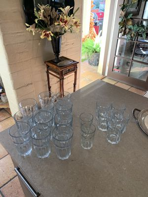 Pottery Barn Glassware: classic design 11 tall, 5 double old fashion and 2 juice/wine for Sale in San Diego, CA