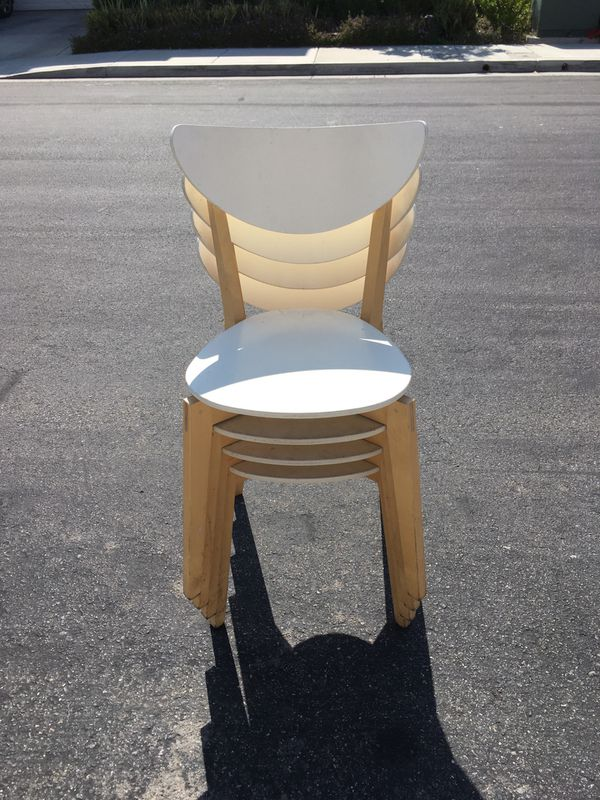 NEW - (3) Stackable Wooden Chairs