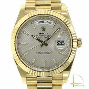 Rolex Day-Date Watch 18KY Gold 228238 Silver Motif Dial Fluted President Band 40 for Sale in Westchester, CA