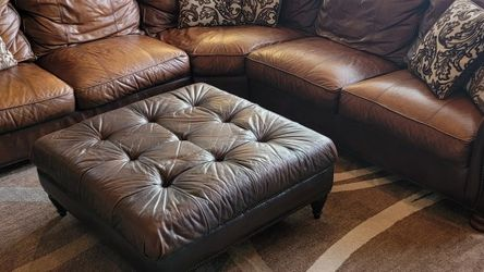 Leather Sectional Couch With Ottoman for Sale in Tomball,  TX