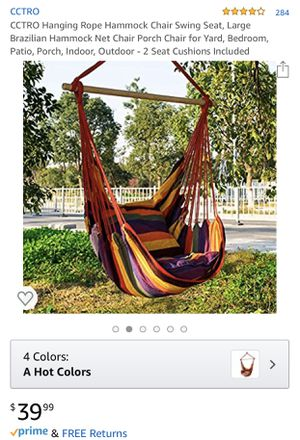 CCTRO Hanging Rope Hammock Chair Swing Seat, for Sale in Fontana, CA