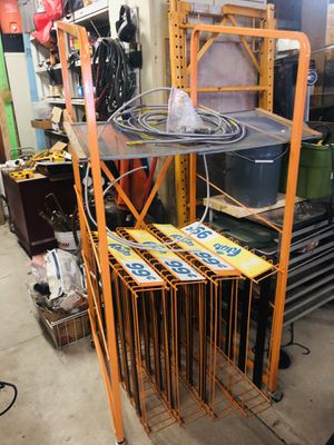 Orange shelving unit with wheels for Sale in Millersport, OH