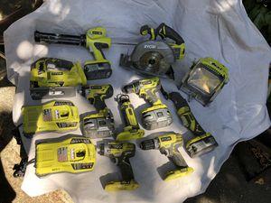 "Ryobi Brushless: 7-1/4"" circular saw, Impact Drivers x2, 1/2"" Concrete Hammer drill, Caulking gun, Router, Multitool, Jigsaw, LED light, 4x 6&4 Amp for Sale in Seattle, WA"