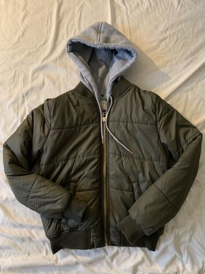 Army Green Bomber Jacket With Removable Hoodie - Size Small for Sale in Henderson, NV