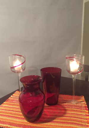 Vases and candle holders - 4 pieces for $25 for Sale in Colesville, MD