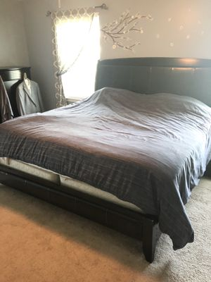 King bed frame / tall dresser /long dresser with mirror for Sale in Dublin, PA