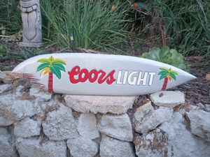 """Coors light surfboard tiki bar wood sign 40"""" for Sale in La Mesa, CA"""