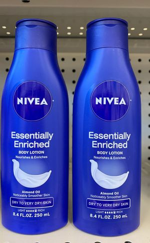 2 Nivea Essentially Enriched body lotion with almond oil for Sale in Alexandria, VA