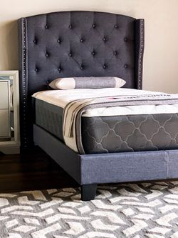 Twin Dark Gray Linen Platform Bed Set With Plush Mattress Included for Sale in Austin,  TX