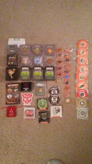 Loot Crate/Firefly Cargo Crate/ThinkGeek Capsule button/pin/medallion lot of 50 pcs (includes Halo 5 ammo can)- Power Rangers, Transformers, Marvel for Sale in Westerville, OH