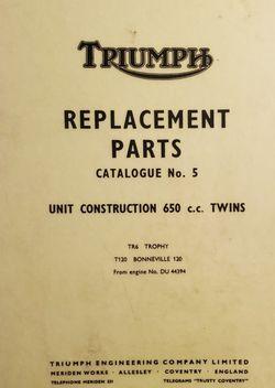 TRIUMPH Replacement Parts Catalogue No. 5 TR6 Trophy, T120 Bonneville - 1967 for Sale in Los Angeles,  CA