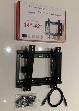 "NEW universal 14 to 42 inch tilt adjustable tilting tv wall mount television bracket stand with HDMI wire and screws 32"" 37"" 40"" 42"" for Sale in South El Monte, CA"