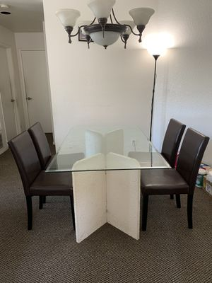 Beautiful glass dining table with leather chairs for Sale in Hercules, CA