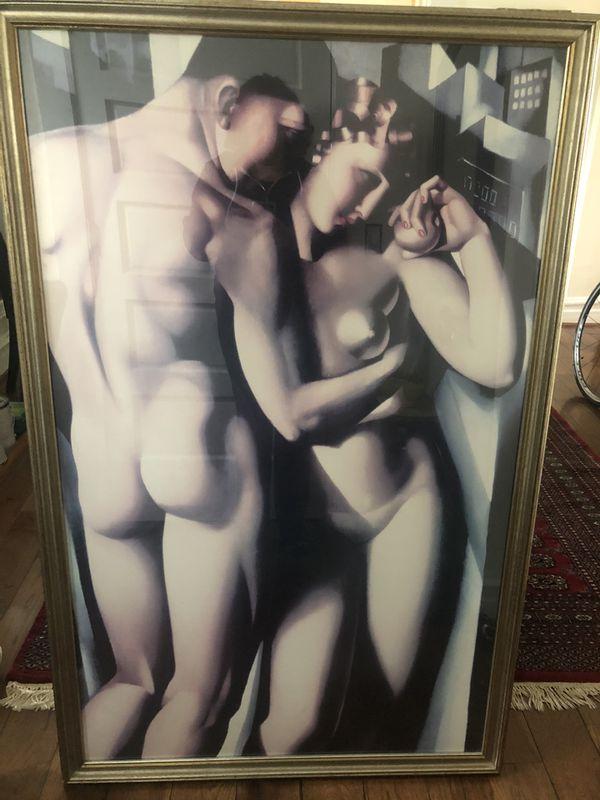 Adam and Eve framed print (35x55 / Art Deco statement piece