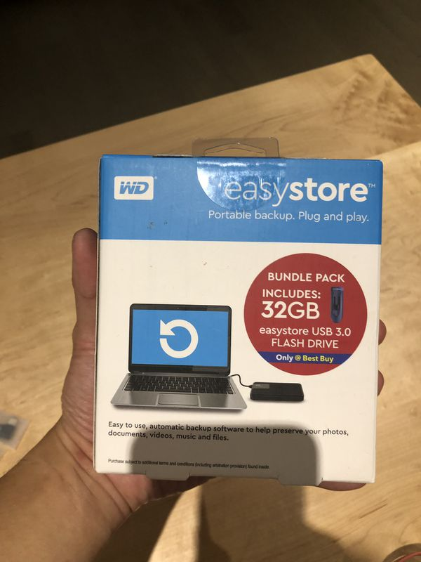 WD Easystore 4TB External USB 3.0 Portable Hard Drive with 32GB Easystore USB Flash Drive