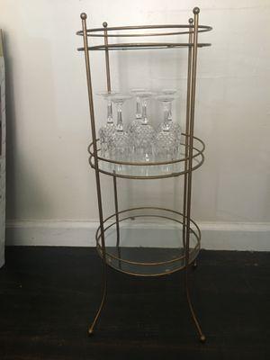 3 Tier glass shelf & 6 piece set of crystal goblets for Sale in Garner, NC
