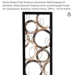 Adeco Modern Wall Sculpture Decorative Wall Hanging Art Aesthetic, Metal Abstract Floating Circles and Rectangle Frame, for Living Room, Bedroom, Kitc for Sale in Bakersfield, CA