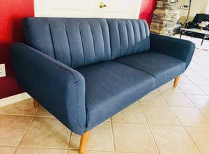 Sofa brand new / futon / couch / adjustable sleeper sofa navy blue mid century modern for Sale in Glendale, AZ