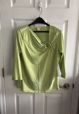 Michael Kors size large lime green and white striped blouse with gold Michael Kors accent for Sale in Des Plaines, IL