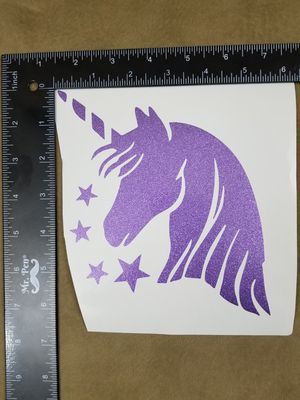 Unicorn Head Vinyl Decal - Glitter Purple for Sale in Pomona, CA