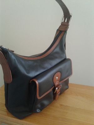 Two-tone Black and Cognac Leather Hobo Bag for Sale in Woodbridge, VA